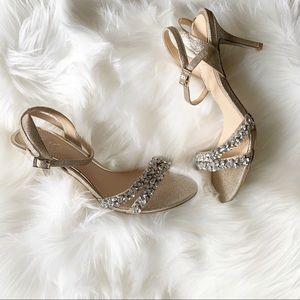 #Shimmery #Gold #Rhinestone #StrappyHeels